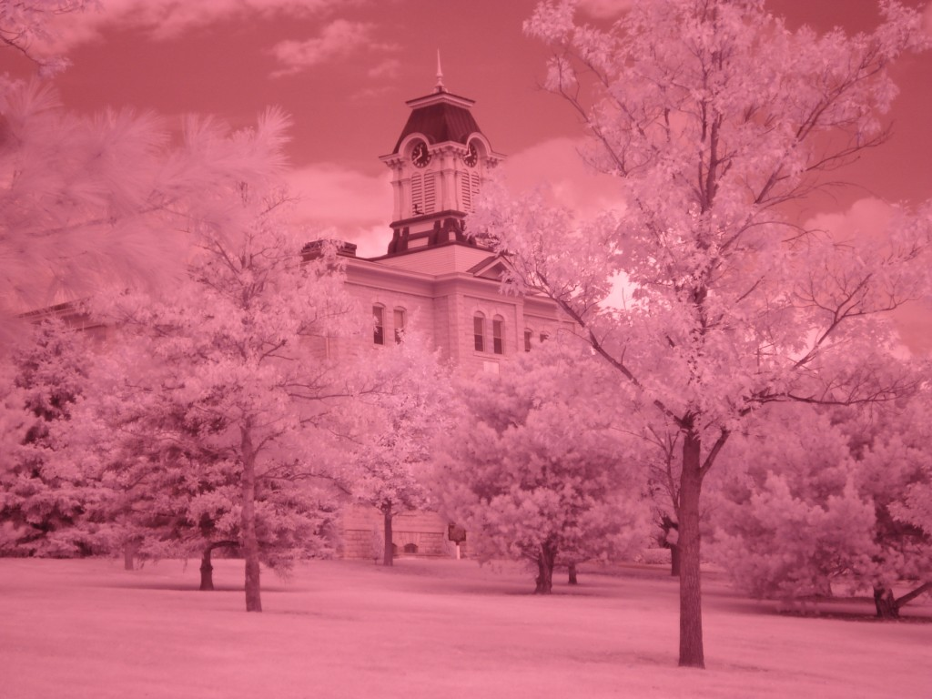 Infrared photograph of Old Main at Gustavus Adolphus College.