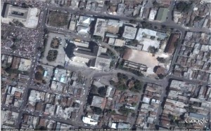 A portion of downtown Port-au-Prince, including the National Cathedral, on March 2008. (Image from Google Earth.)
