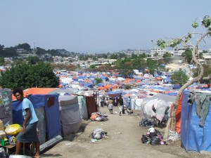 A displaced persons camp in Port-au-Prince one month after the 2010 earthquake.