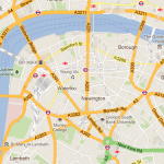 A portion of the street network a London cabbie must memorize.