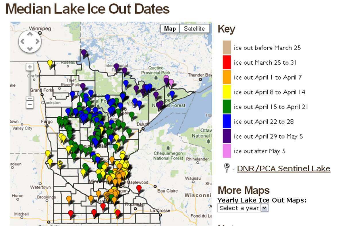early ice out for minnesota�s lakes posted on april 9th