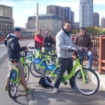 Geography students use Nice Ride bikes to explore Minneapolis. Left to Right: Andrew Peterson, Jory Birkeland, Teige Cudahy, Matt Bye, and Zach Stackhouse.
