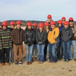 Half the GEG-101 class on their tour of the Unimin Kasota Mine.
