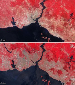 Landsat images of Istanbul, Turkey, from 1975 (top) and 2011 (bottom). Curtosy of NASA.