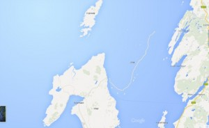 A GoogleEarth screenshot showing the missing island of Jura, Scotland.