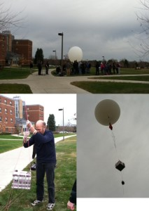 A weather balloon is launched from in front of Olin Hall on Friday, November 7.