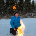 Dr. Katey Walter Anthony lights a methane seep on fire.