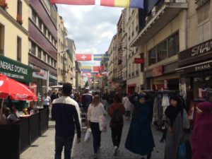 Pedestrian shopping area in downtown Saint Denis